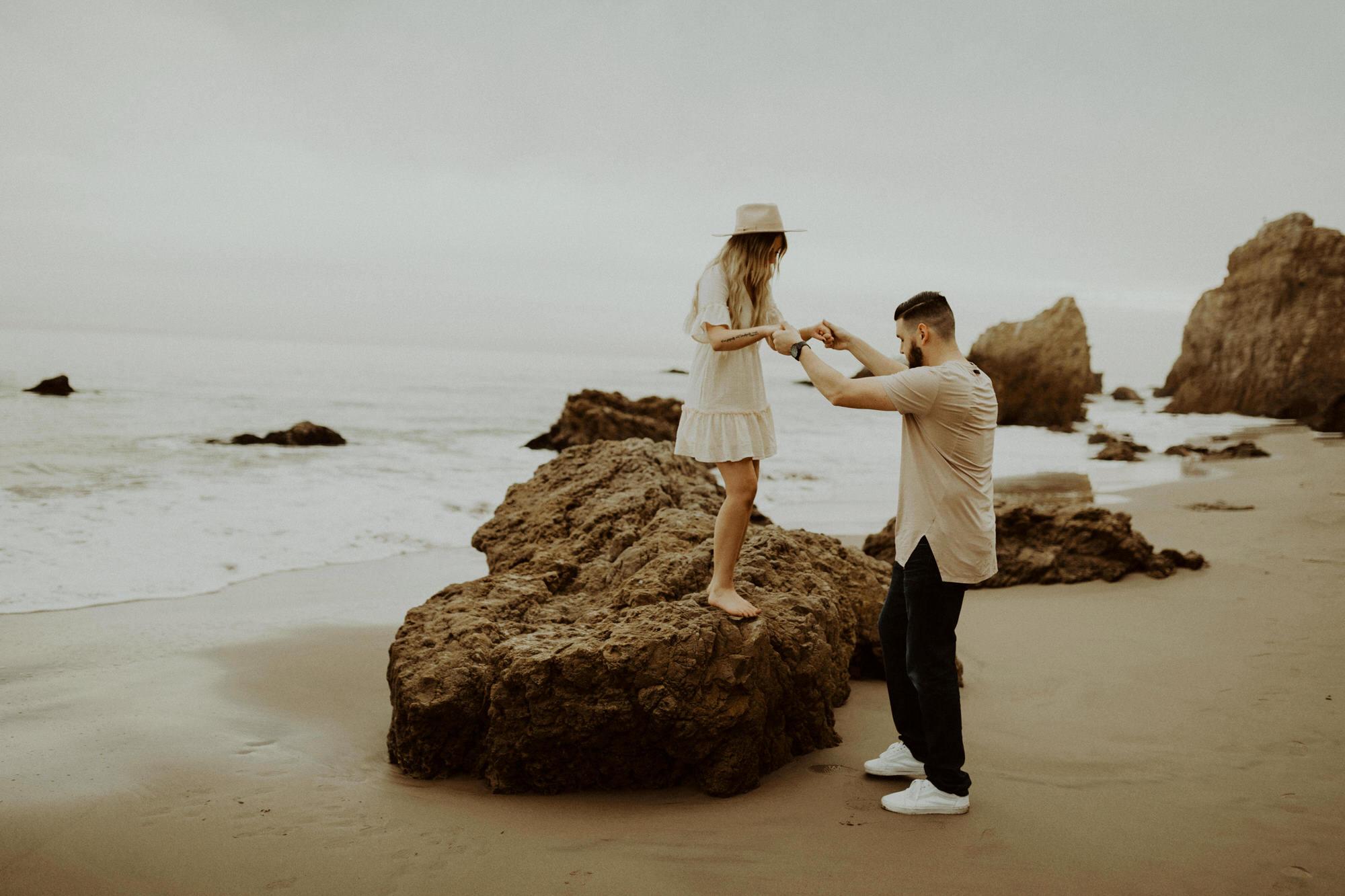 Malibu Adventure session at El Matador Beach, by LA + Southern California Elopement + Wedding Photographer Katie Bertagnolli