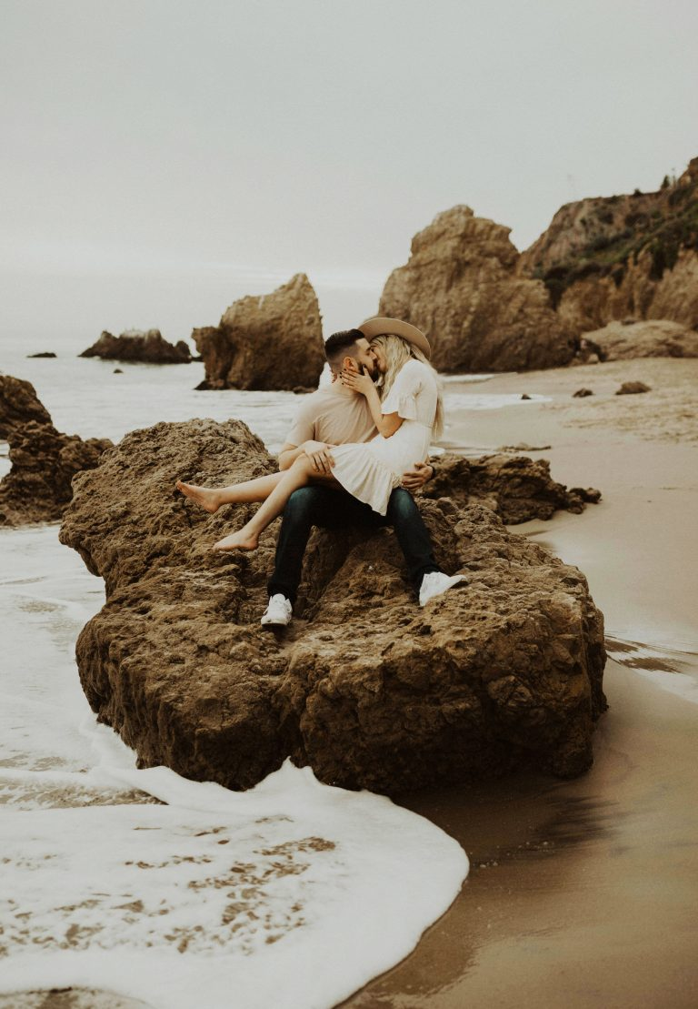Boho Couple Engagement Photo Session at El Matador Beach in Malibu, California by traveling Elopement and Wedding Photographer, Katie Bertagnolli