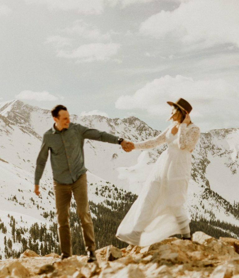 bride and groom on a mountain in Colorado eloping
