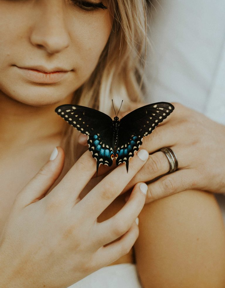 boho wedding elopement with butterfly